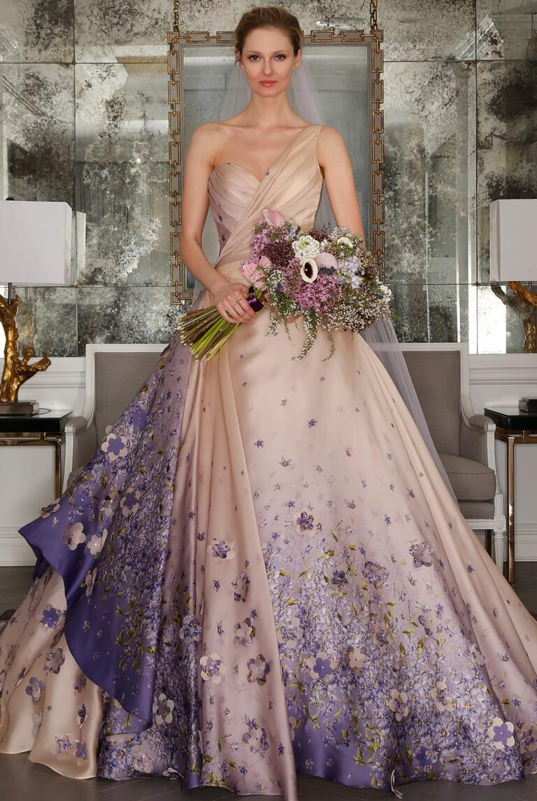 Purple floral one shoulder wedding dress from Romona Keveza's Spring 2017 collection