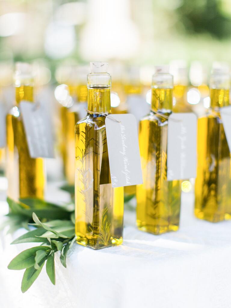 Unique olive oil wedding favor idea