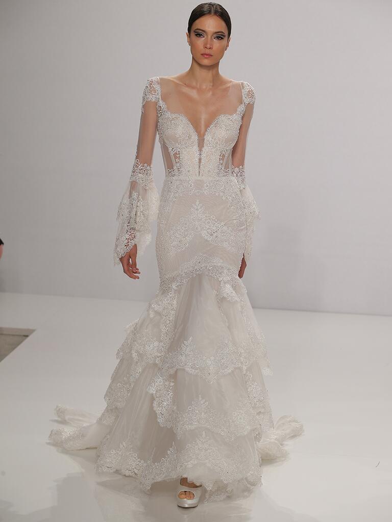 pnina tornai wedding dresses bridal fashion week fall bell sleeve wedding dress Pnina Tornai Fall Lace Wedding Dress with Bell Sleeves