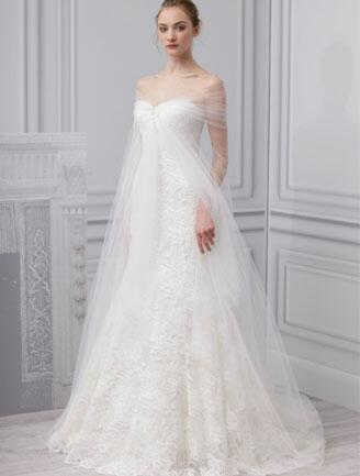 Monique Lhuillier Tulle Overlay Gown