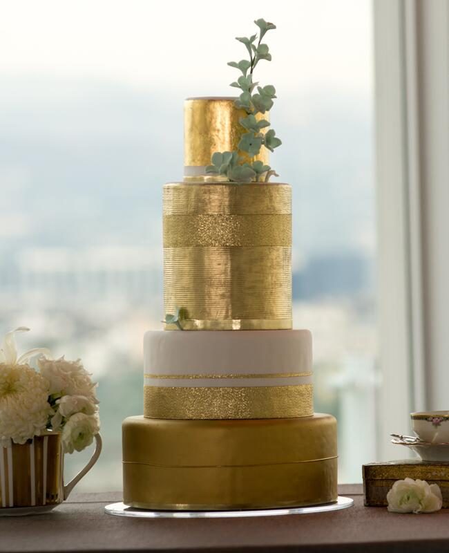 Gold Cake With Stripes |<img class=