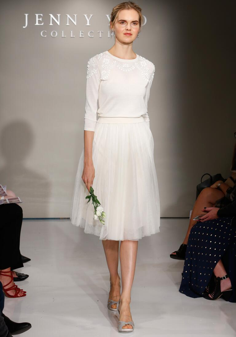 Jenny Yoo Fall 2016 wedding sweater skirt set with beading on neck and shoulders and tea length tulle skirt