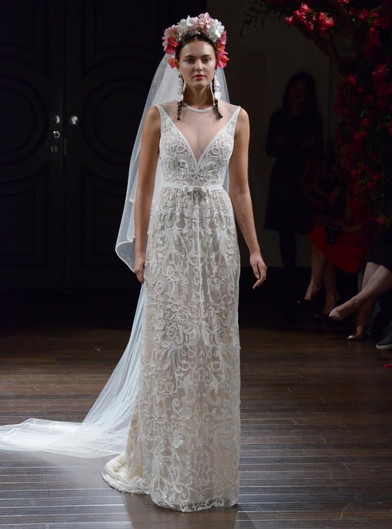Naeem Khan Fall 2016 embroidered illusion wedding dress with deep v-neck