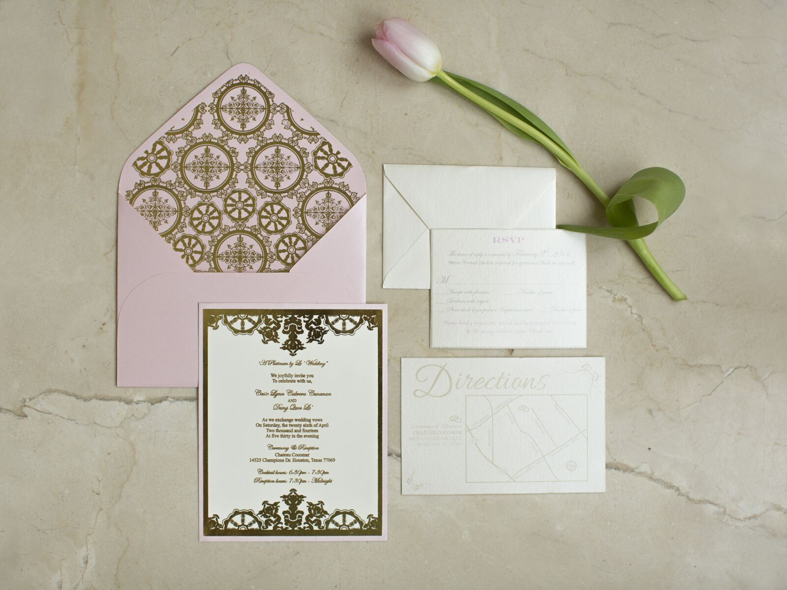 pink and white wedding stationary suite