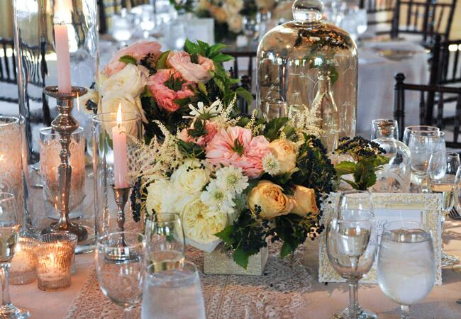 Blush, Yellow & Green Centerpieces // John & Joseph Photography // Planner: Details Details // Location: Ponte Winery