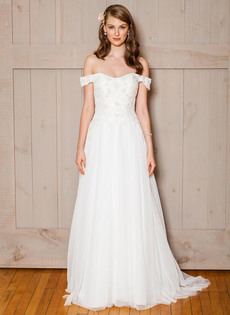 David's Bridal Fall 2016 off-the-shoulder wedding dress with beaded bodice