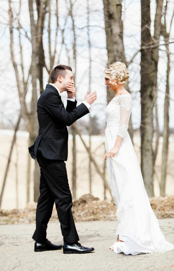 Bride and groom first look at IronGate Equestrian Center