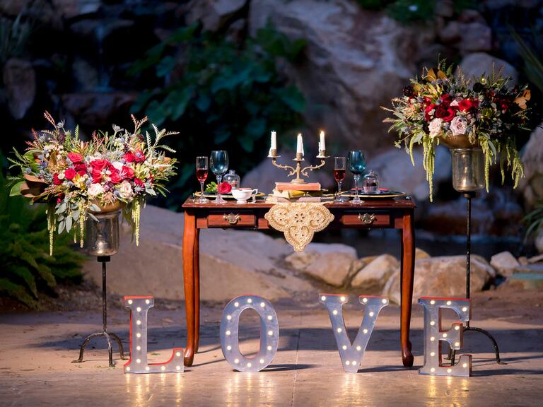 Beauty and the Beast inspired styled wedding photo shoot