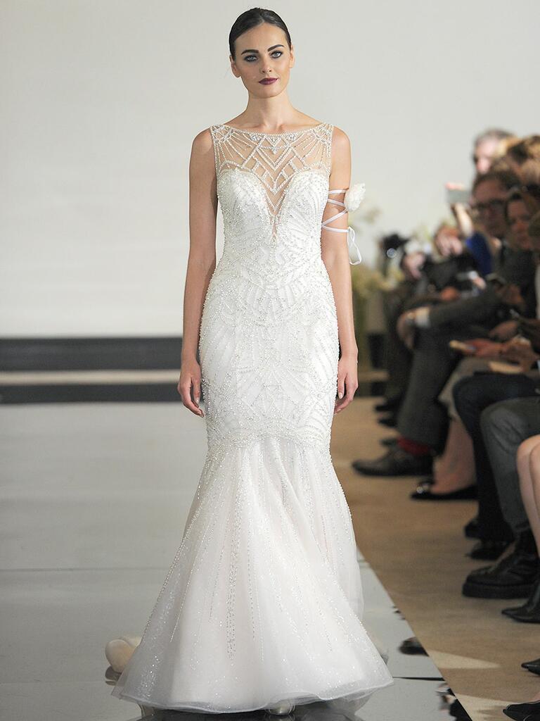 Justin Alexander Spring 2018 Art Deco beaded mermaid wedding dress with illusion back