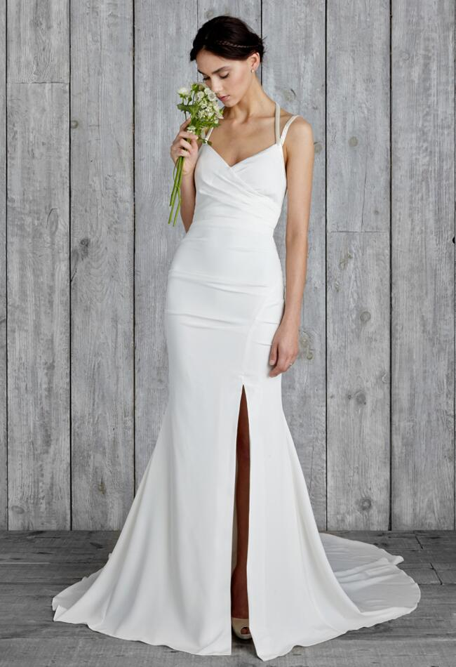 Nicole miller 2015 wedding dresses include modern sexy for Simple form fitting wedding dresses