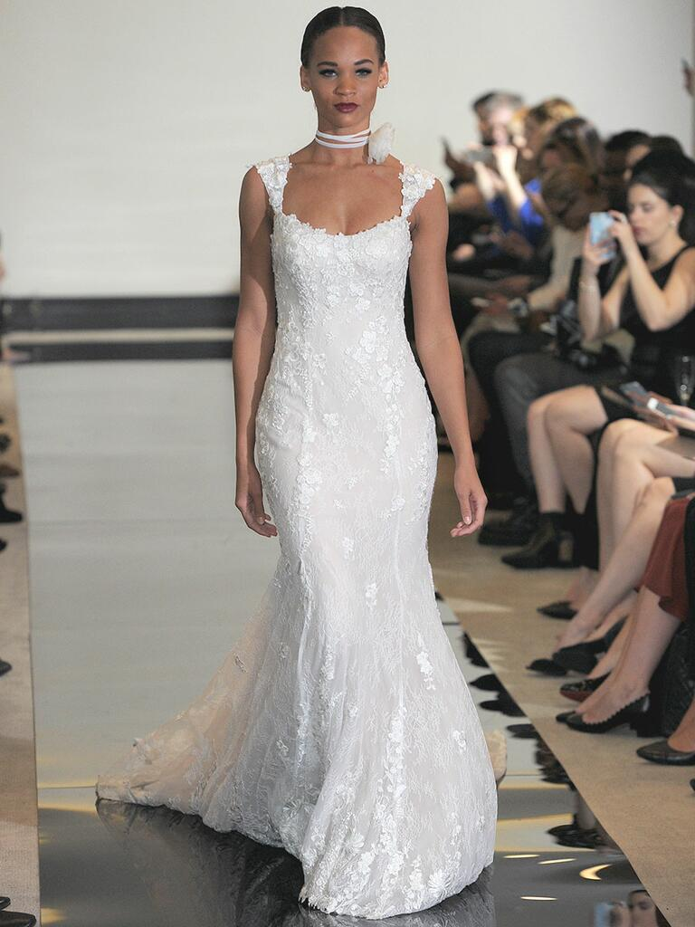Justin Alexander Spring 2018 fit and flare wedding dress with scoop neck and cap sleeves