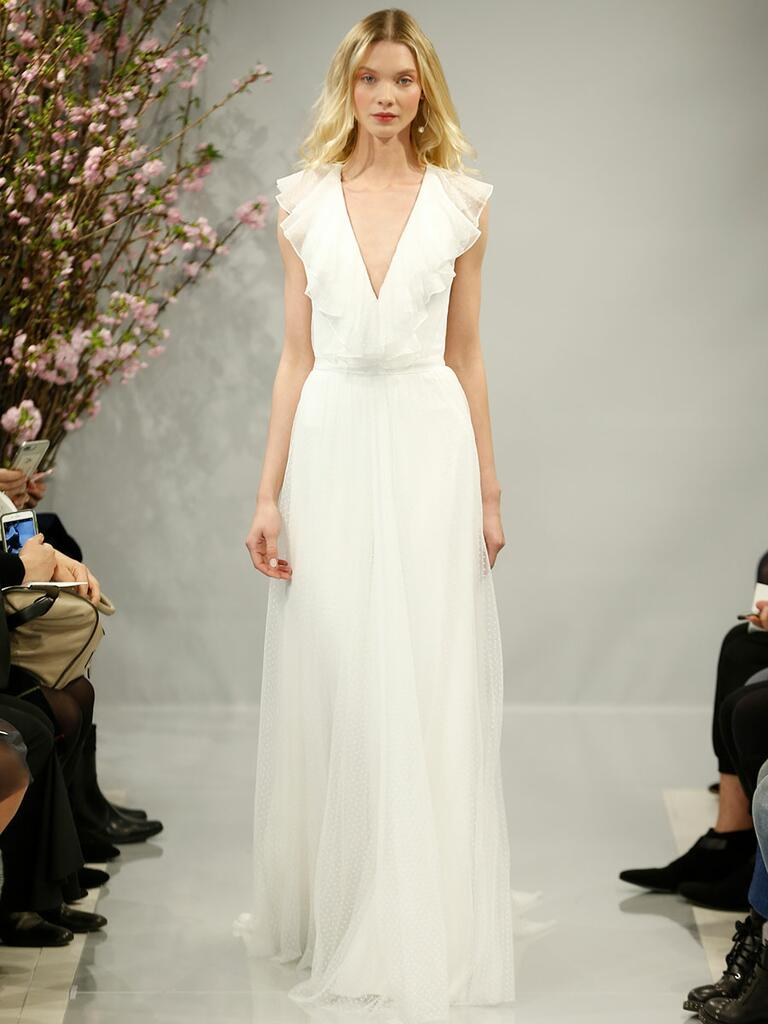 Theia Spring 2018 ivory Point d'Esprit and silk organza ruffle V-neck ball gown