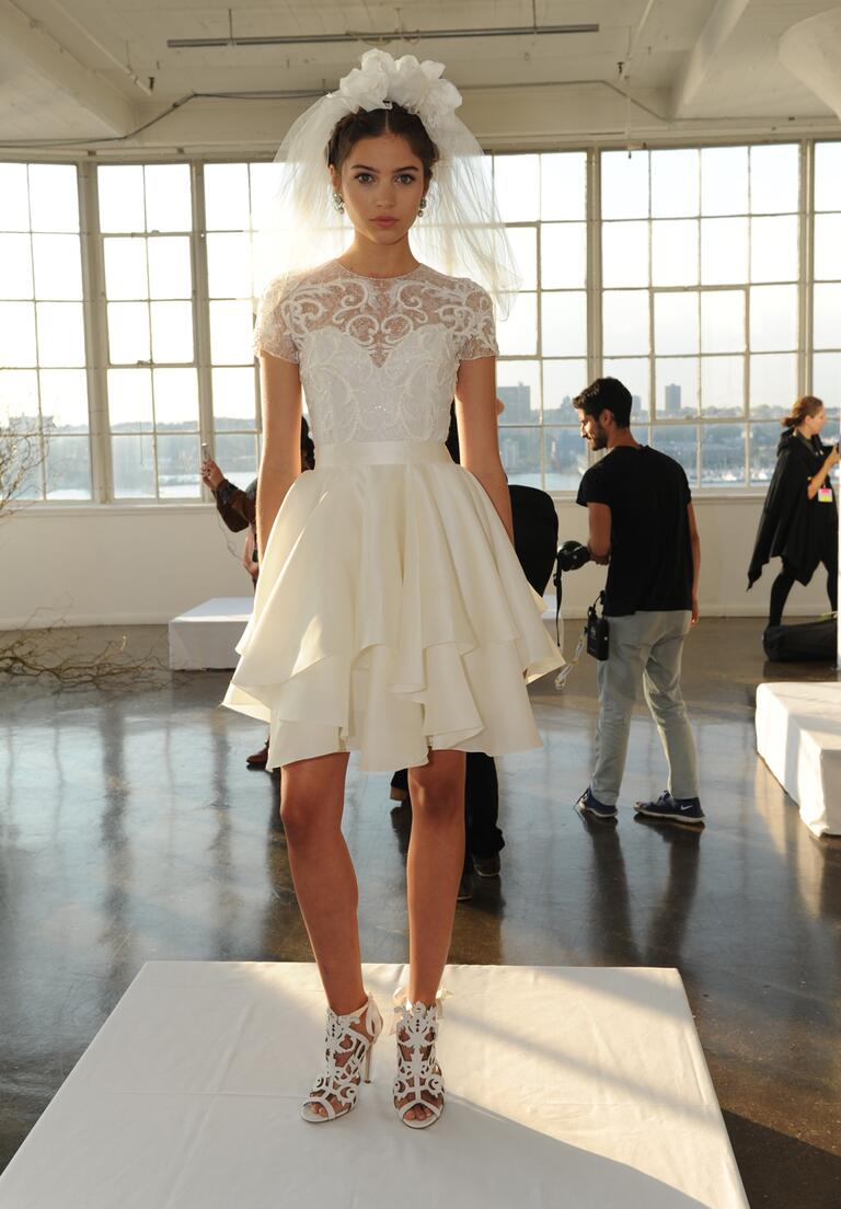 marchesa wedding dresses bridal fashion week fall marchesa wedding dresses Marchesa Fall ornately embroidered ribbon work lace cocktail length wedding dress with satin
