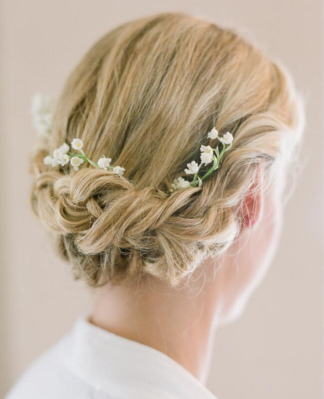 Low Bridal Updo With Flowers