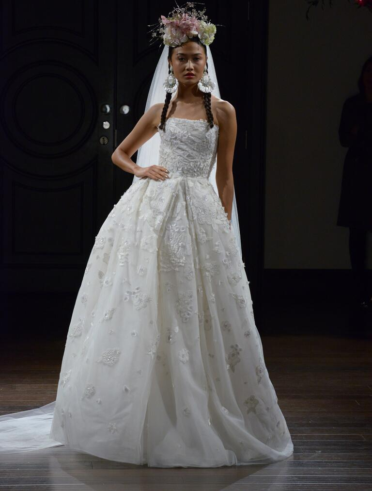 Naeem Khan Fall 2016 embroidered strapless organza ball gown wedding dress