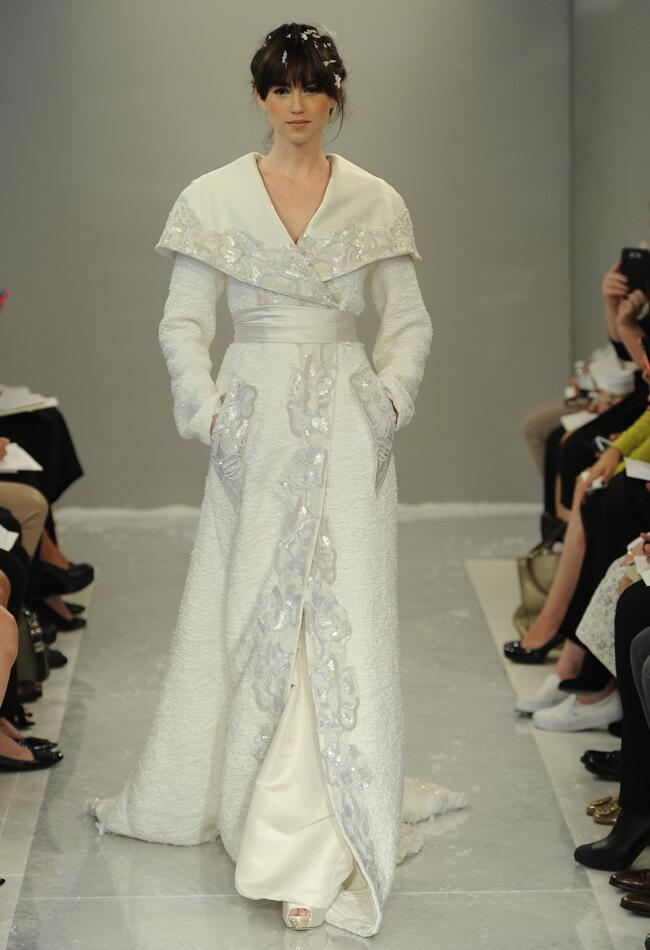 Theia fall 2015 wedding dress collection includes knit for Coats for wedding dresses