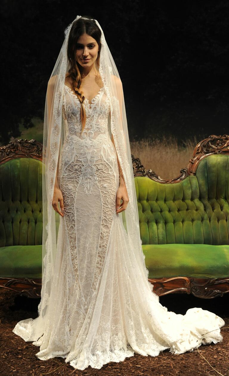 gala by galia lahav wedding dresses bridal fashion week spring summer galia lahav wedding dresses Gala by Galia Lahav spring summer wedding dress with sheer corset top and tight