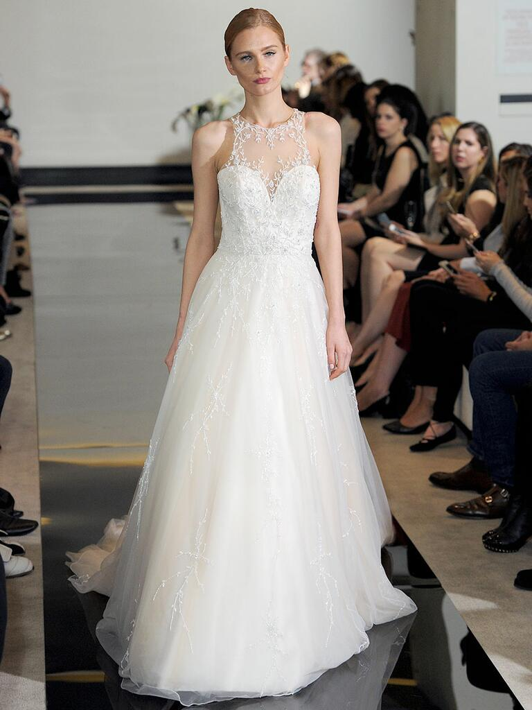 Justin Alexander Spring 2018 jewel collared ball gown with keyhole back