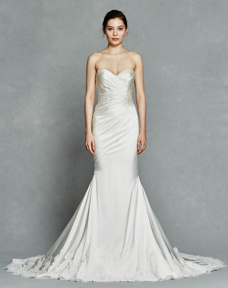 Kelly Faetanini Spring 2017 strapless satin wedding dress with embroidered edge detail