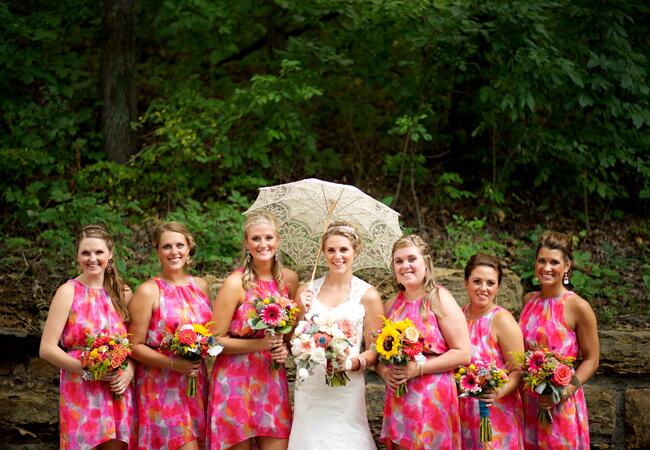 Floral Print Bridesmaid Dresses |Photo: Lindsay J Photo | The Knot Blog