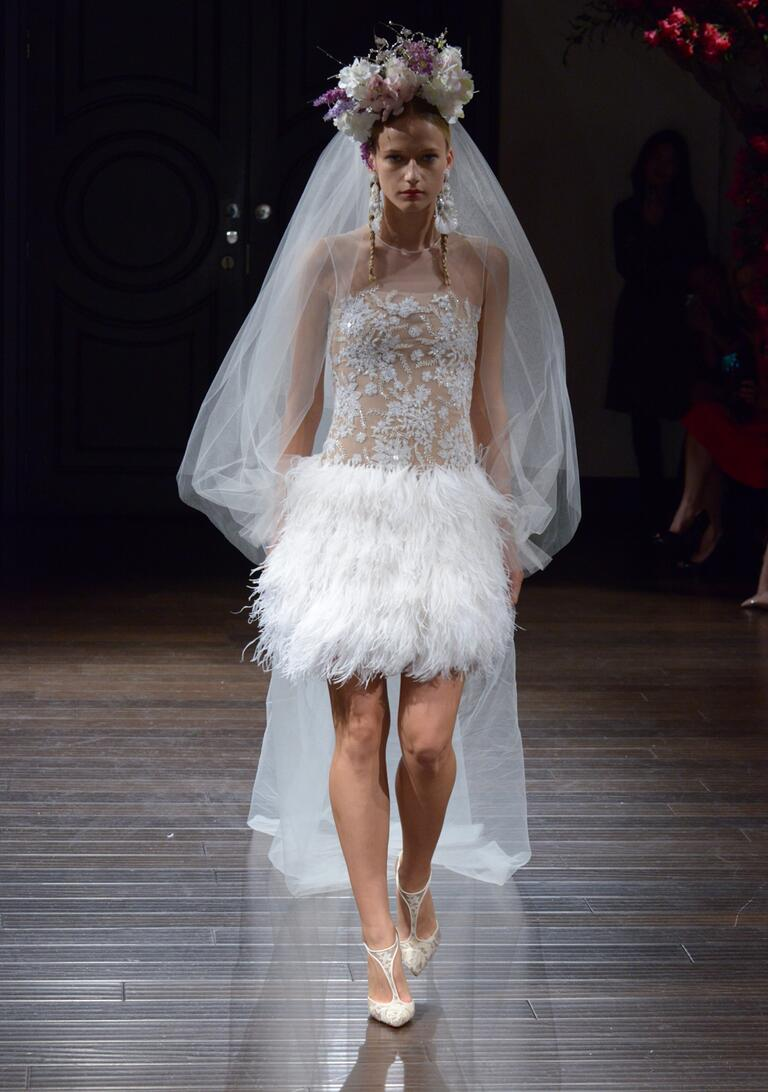 Naeem Khan Fall 2016 mini wedding dress with sheer embellished bodice and feathered skirt