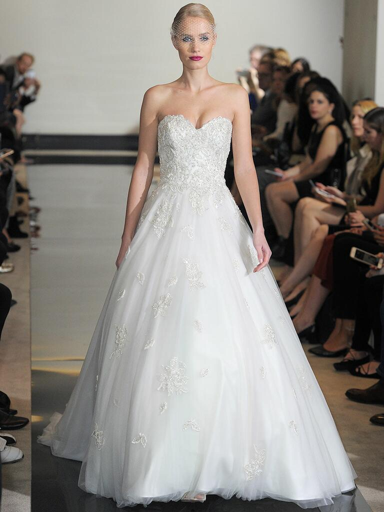 Justin Alexander Spring 2018 beaded sweetheart bodice ball gown with cascading English net skirt