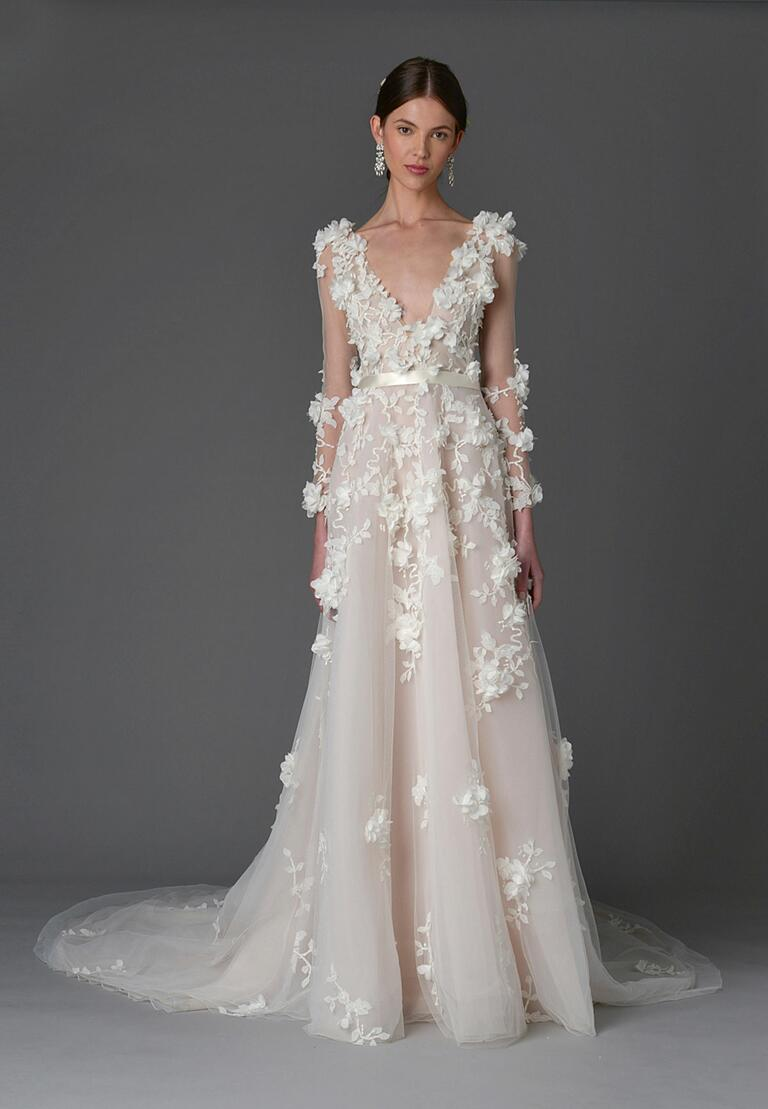 Marchesa Spring 2017 long sleeve wedding dress with plunging neckline and 3-D floral appliqué