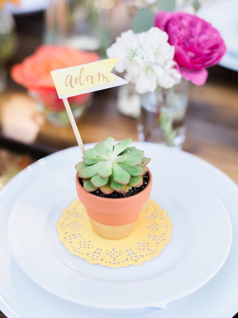 Potted succulent place card idea for a fun wedding favor