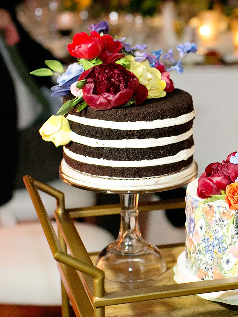 Single tier chocolate naked cake with fresh flowers