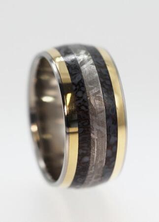 dinosaur bone wedding band - Meteorite Wedding Ring