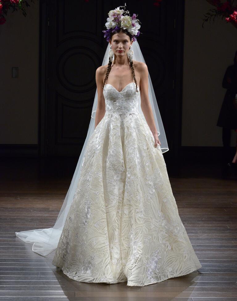 Naeem Khan Fall 2016 raffia embroidered strapless wedding dress