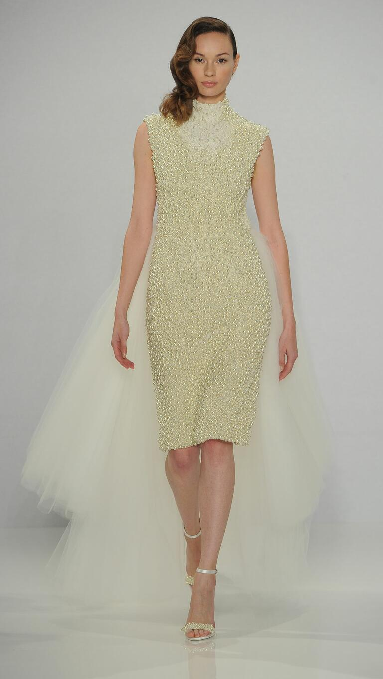 Christian Siriano Spring 2017 pearl embroidered tulle overlay wedding dress