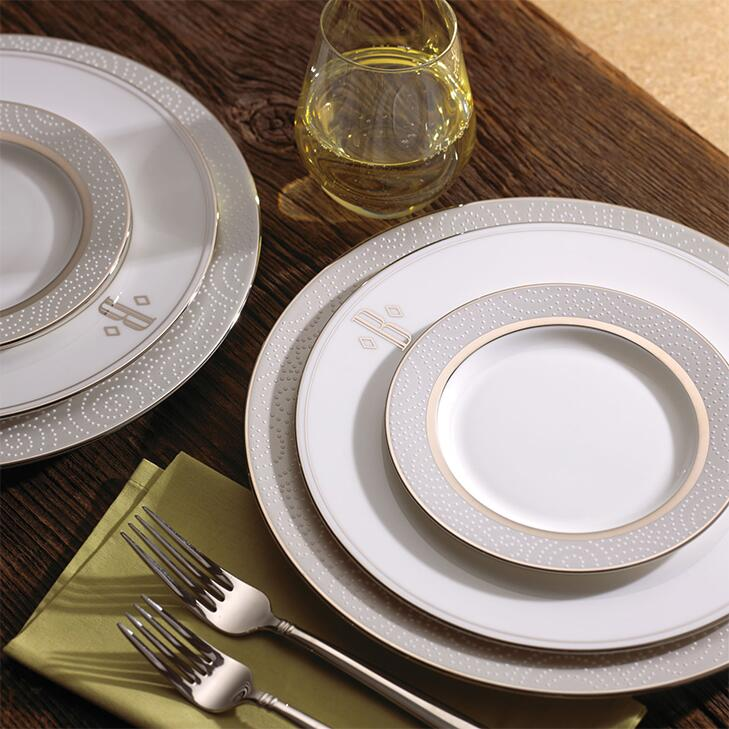 table set with Lenox monogrammed dinnerware