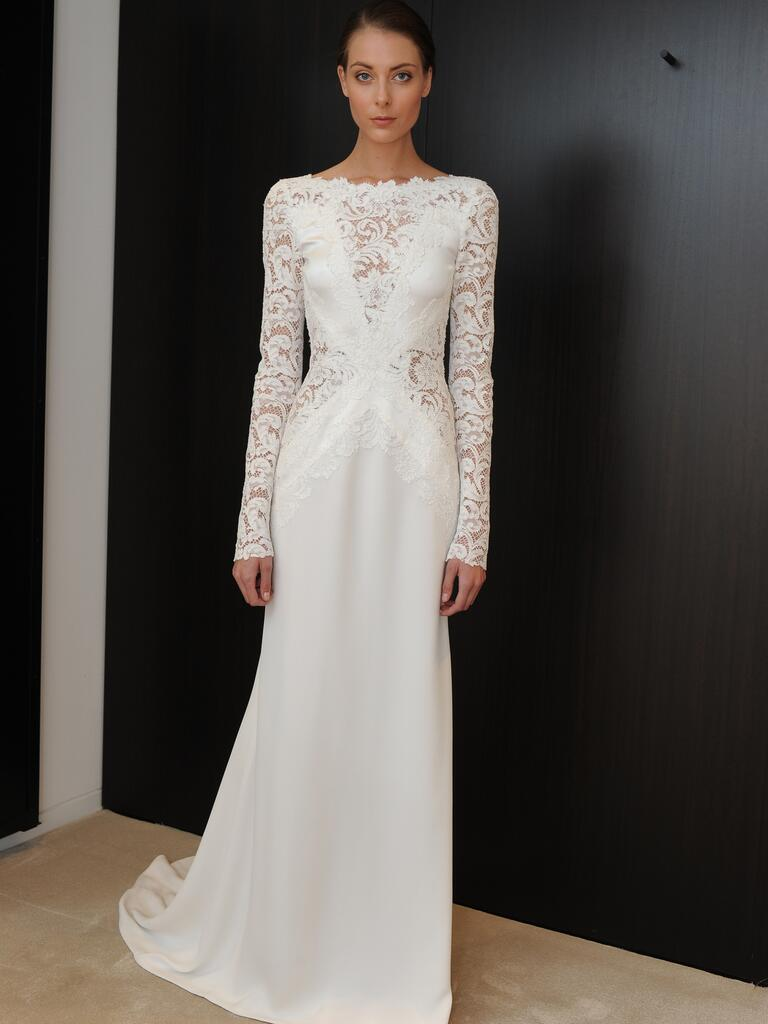 j mendel wedding dresses feature sleek and structured details j mendel wedding dress J Mendel cutout lace wedding dress with sleeves from Spring