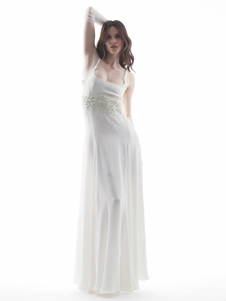 Houghton Spring/Summer 2018 sheer spaghetti strap sheath wedding dress with pearl waistline