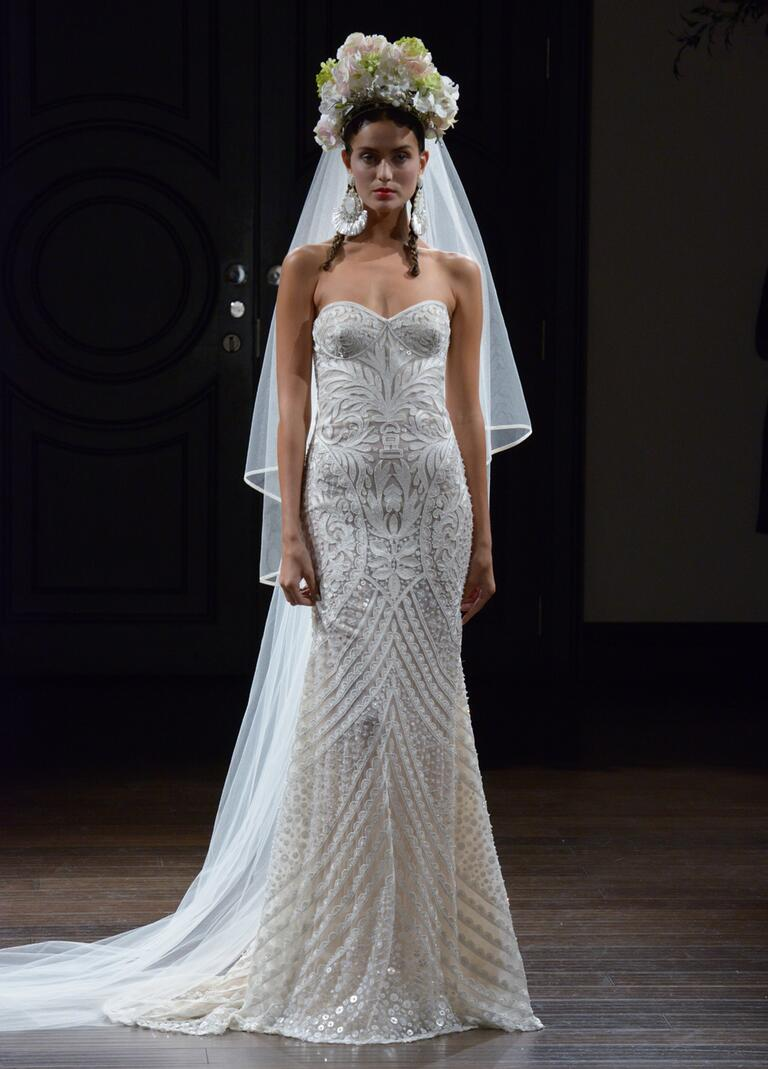 Naeem Khan Fall 2016 strapless sheath wedding dress with embroidered-pattern detail