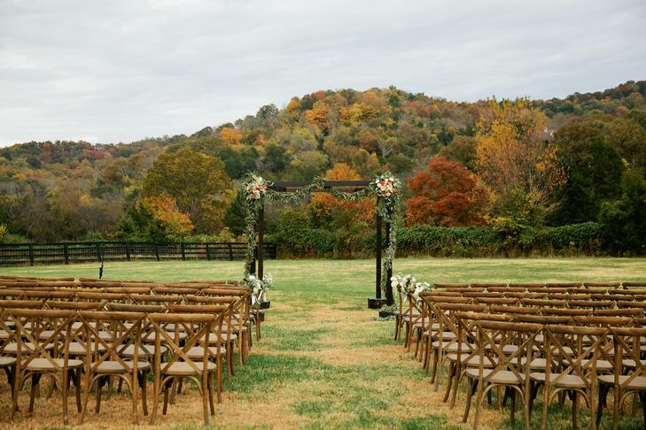 Wedding ceremony arch in Fall