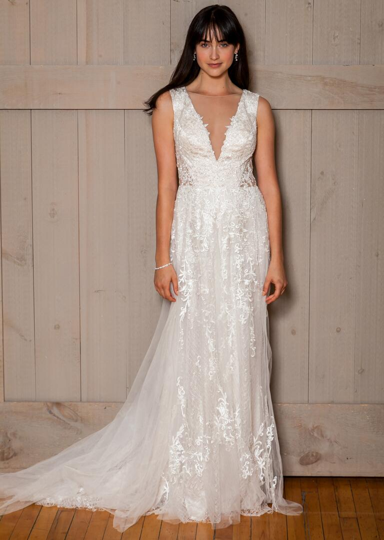 David's Bridal Fall 2016 tulle v-neck wedding dress with floral lace appliqués