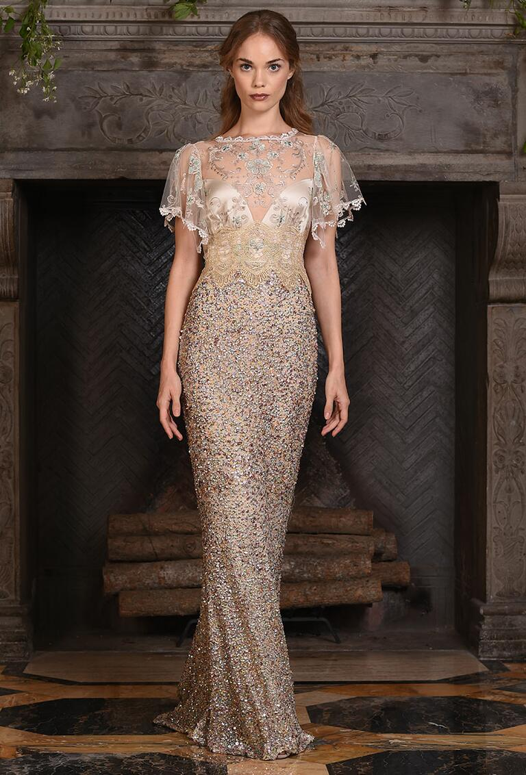 Claire Pettibone champagne wedding gown with crystal and sequin embellished fit and flare silhouette Fall 2017