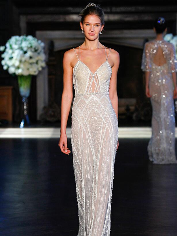 Alone Livne sheer beaded wedding dress