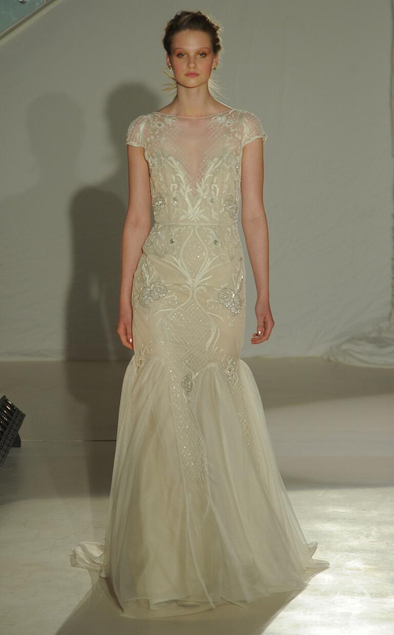 Hayley Paige spring 2017 ivory over cashmere fit-to-flare with baroque beading and low open back and tulle godet
