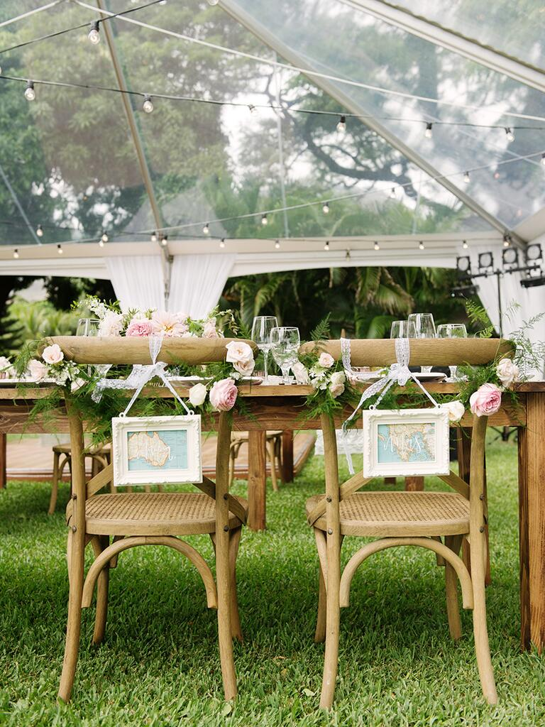 Sweetheart chair decor with framed maps for a destination wedding idea