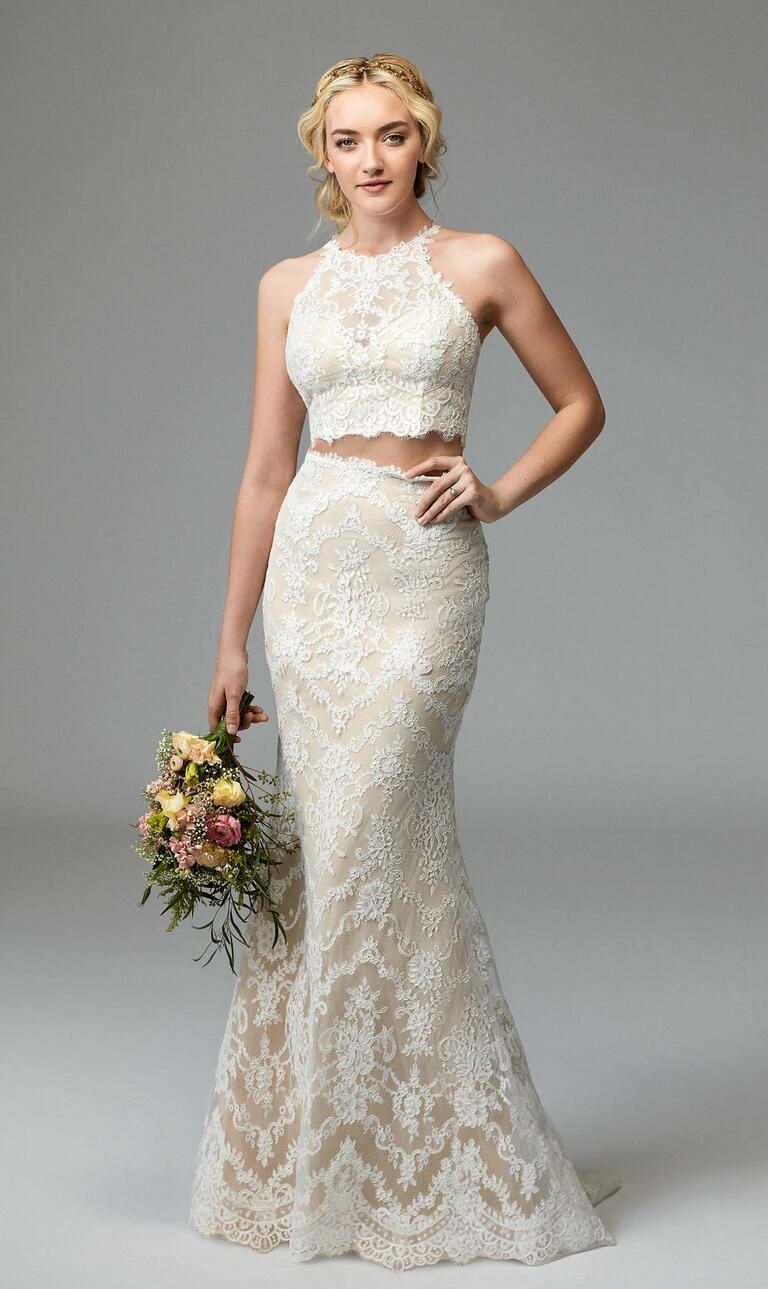 willowby dresses bridal fashion week fall crop top wedding dress Willowby Fall off white wedding dress with white lace overlay halter neck Willowby Fall lace crop top
