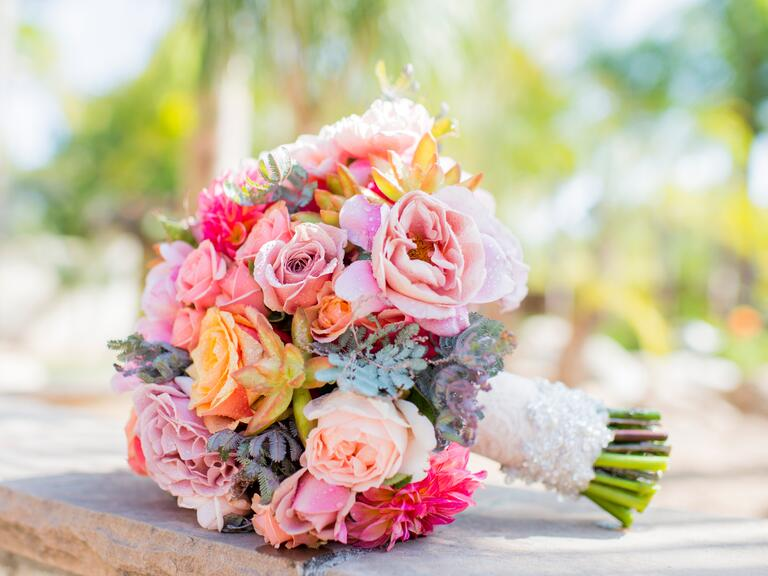 Colorful wedding day bouquet