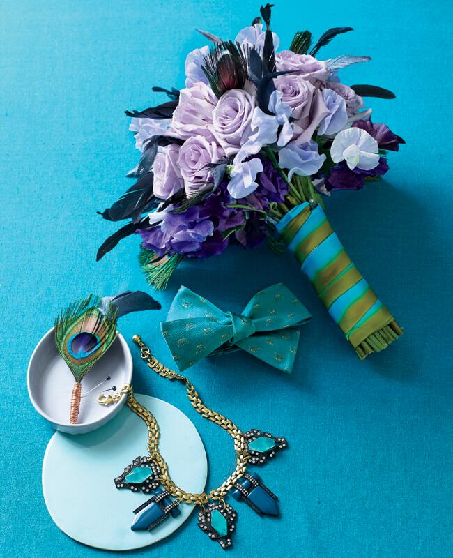 Peacock-inspired bridal bouquet and accessories | Philip Ficks | blog.theknot.com