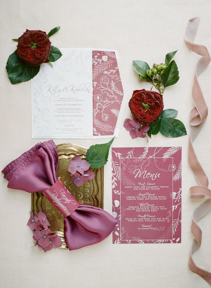 Pink, blush, marsala and white wedding invitation suite