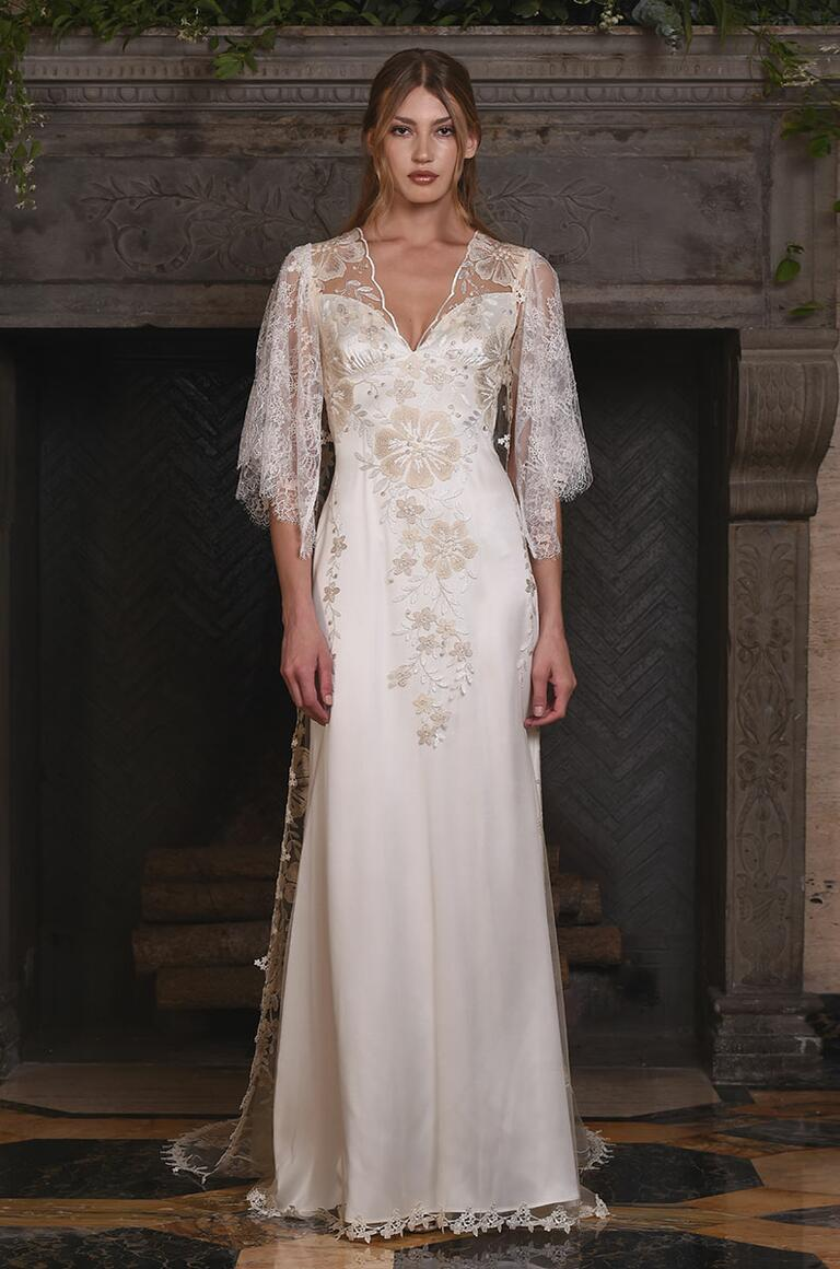 Claire Pettibone wedding gown with quarter length lace sleeve details for Fall 2017