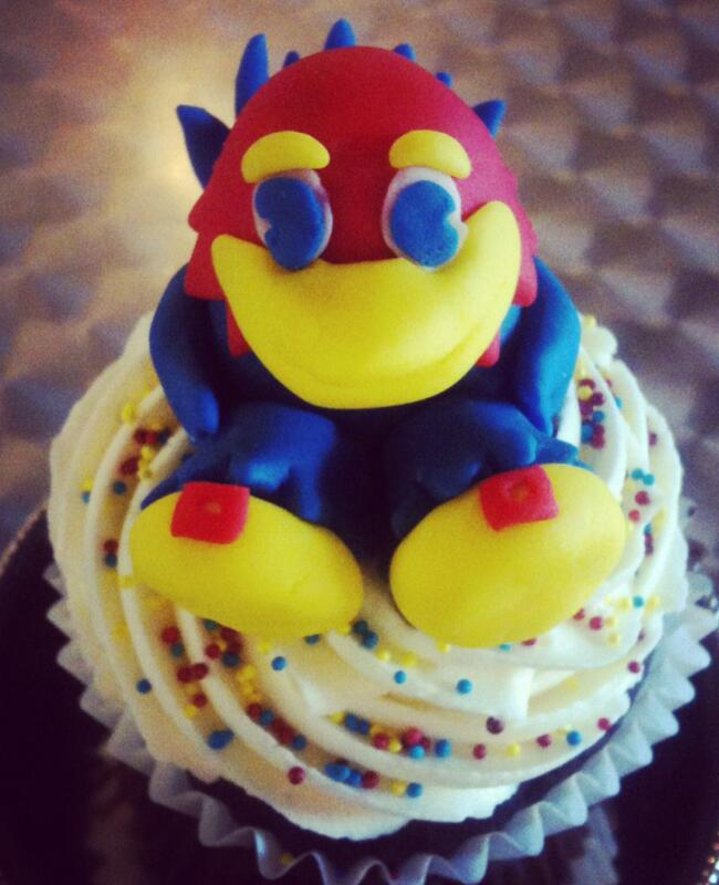 Jayhawk cupcake