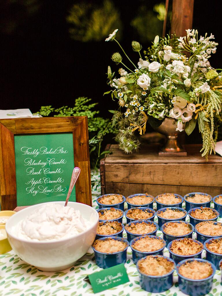 Individual pie bar idea for wedding reception dessert station