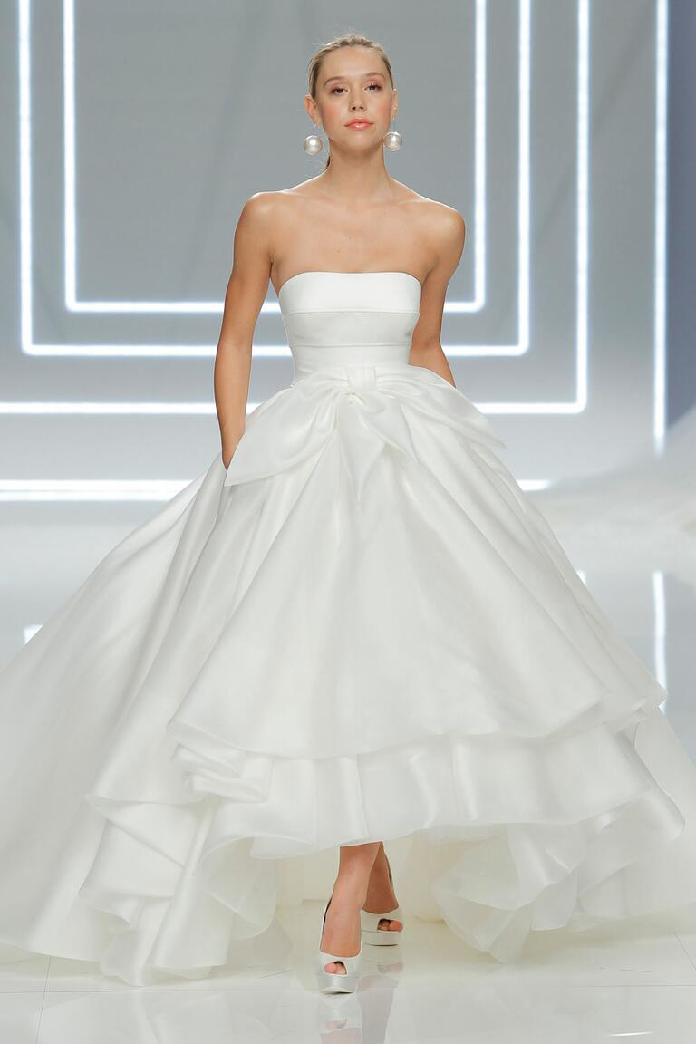 rosa clara wedding dresses bridal fashion week spring straight wedding dresses Rosa Clar straight across strapless ball gown wedding dress with tiered high low hemline